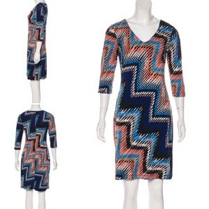 Alyx Blue Black Coral 3/4 Sleeve Stretchy Dress